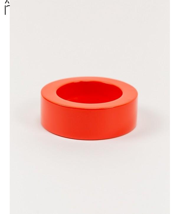 Bracelet rond bord droit bois laqué taille L orange