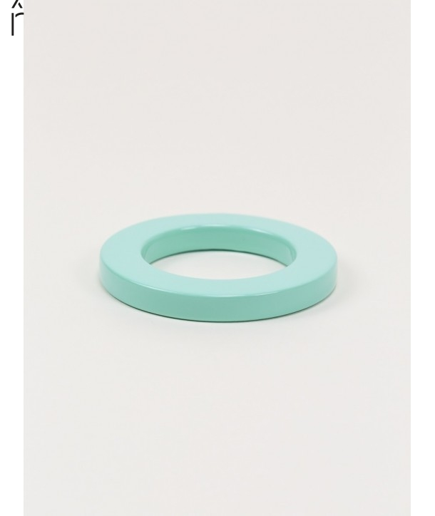 Round green mint lacquered bracelet with straight edge size XS