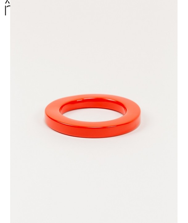 Round orange lacquered bracelet with straight edge size XS