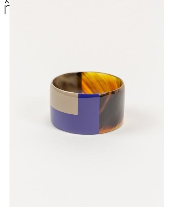 Gros bracelet laque bicolore bleu indigo et café crème