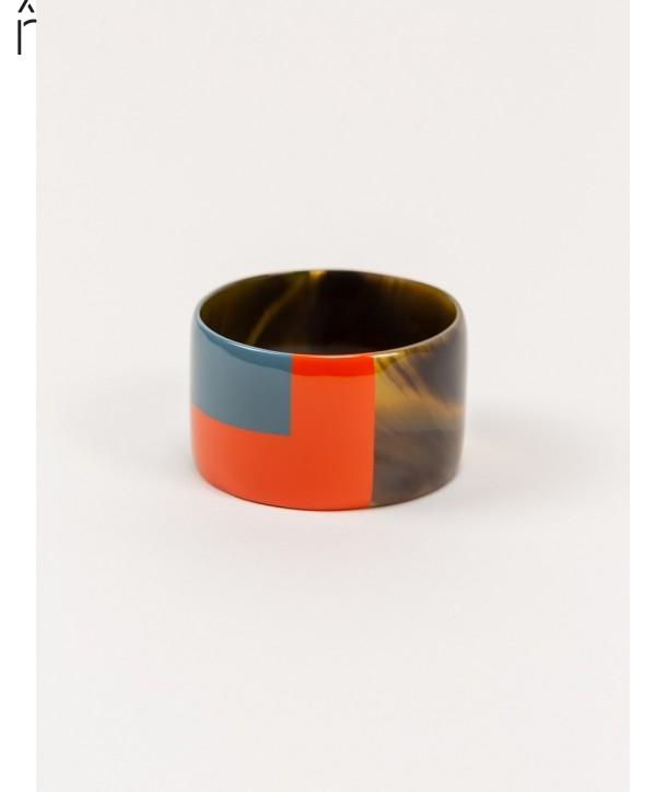 Gros bracelet laque bicolore orange et gris-bleu