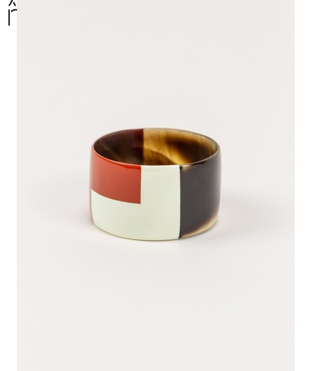 Broad brick and ivory lacquered bracelet