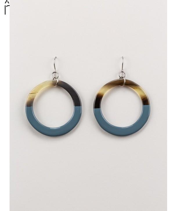 Boucles d'oreilles anneau fin laqué gris-bleu