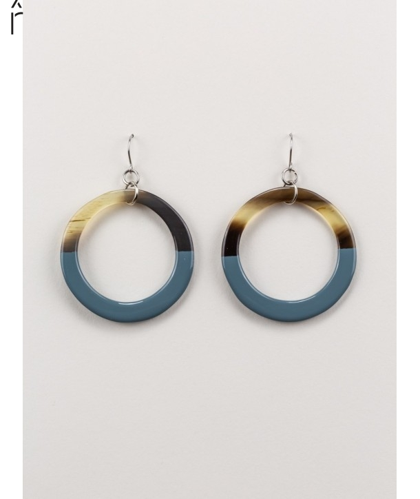 Gray-blue lacquered thin ring earrings