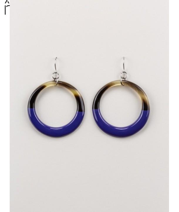 Boucles d'oreilles anneau fin laqué bleu indigo