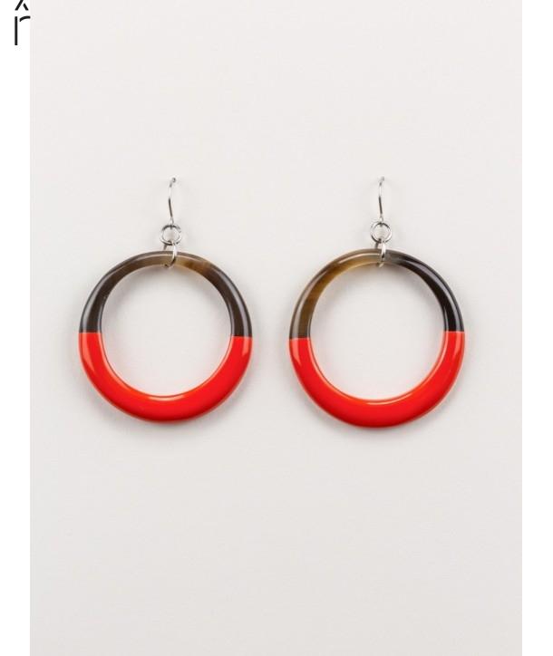 Boucles d'oreilles anneau fin laqué orange