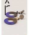 Boucles d'oreilles anneau large laqué bleu indigo et café crème