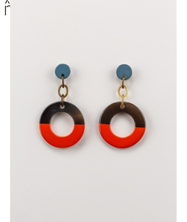 Wide orange and gray-blue lacquered ring earrings