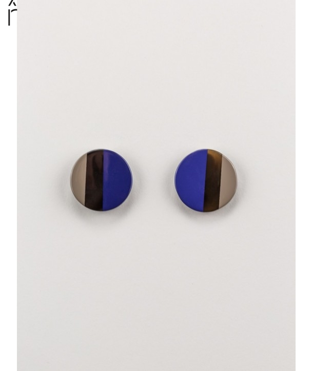 Indigo blue and cream coffee lacquered disc earrings