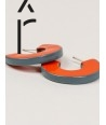 Orange and gray-blue lacquered open flat ring earrings
