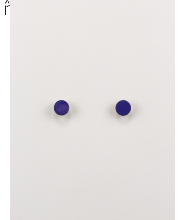 Boucles d'oreilles pastille laquée bleu indigo et café crème