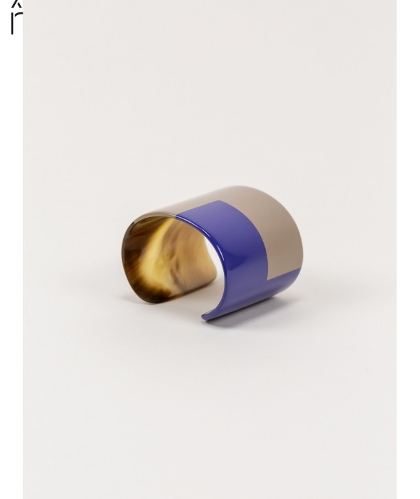 Indigo blue and cream coffee lacquered cuff