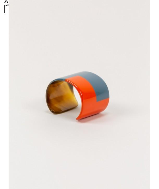 Orange and gray-blue lacquered cuff
