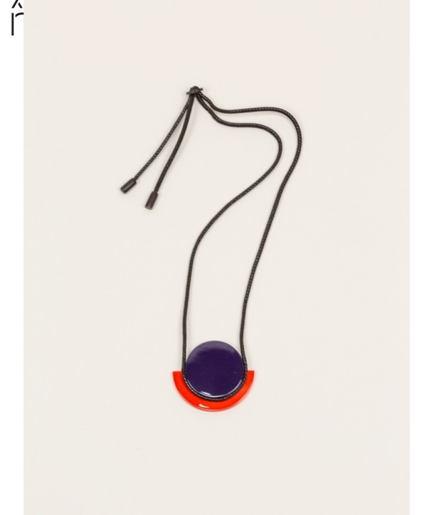 "Astre"" pendant in blond horn with orange and purple lacquer"""