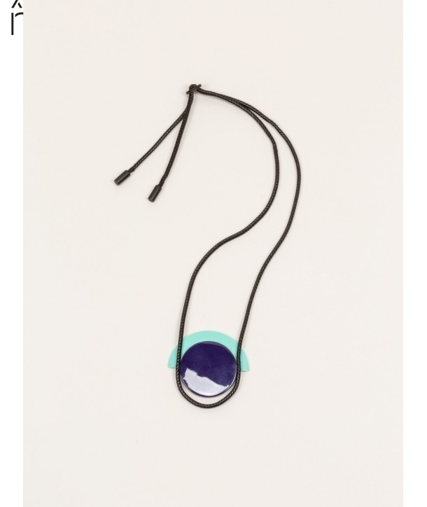 "Dôme"" pendant in blond horn with mint and purple lacquer"""