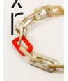 "Tige"" rectangular rings long necklace in blond horn with orange and mint green lacquer"""