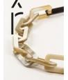 Sautoir Tige anneaux rectangulaires en corne blonde et noire