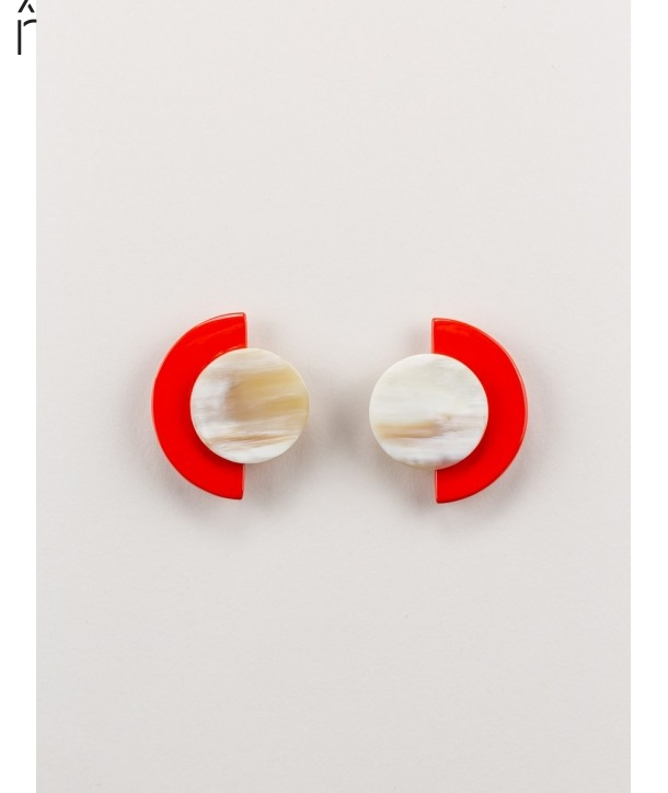 "Terrasse"" earrings in blond horn and orange lacquer"""