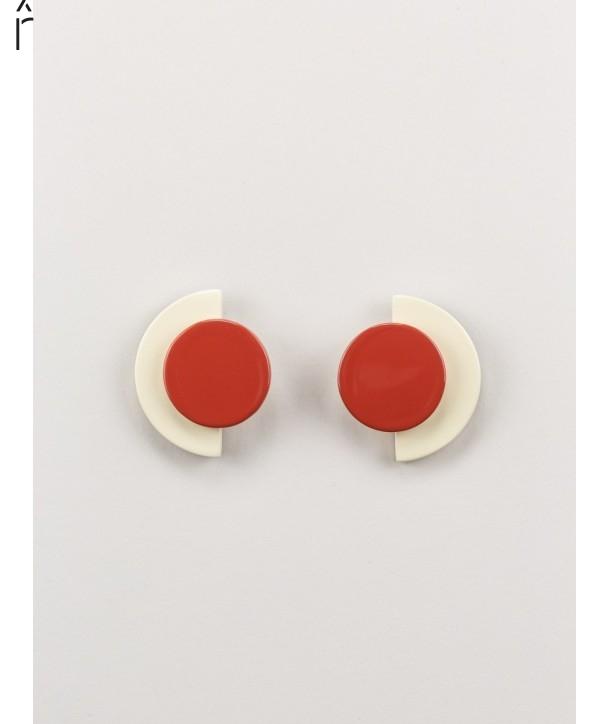 Boucles d'oreilles Terrasse en corne africaine et laque brique et ivoire