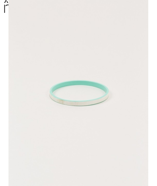 """Bandeau"""" thin bracelet in blond horn and mint green lacquer"""""""