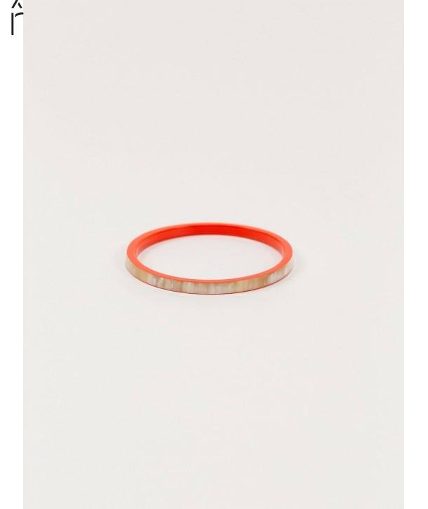 """Bracelet """"Bandeau"""" en corne blonde et laque orange"""