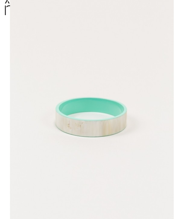 """Bandeau"""" medium bracelet in blond horn and mint green lacquer"""""""
