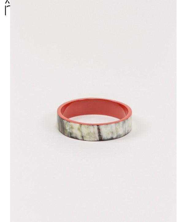Bandeau medium bracelet in horn and brick lacquer