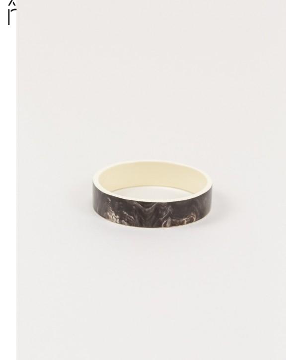 Bracelet Bandeau moyen corne africaine et laque ivoire