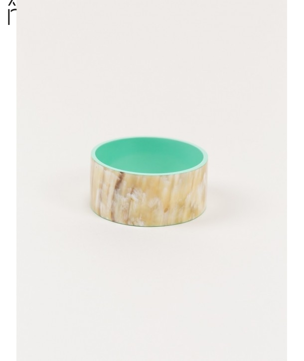 "Bandeau"" wide bracelet in blond horn and mint green lacquer"""