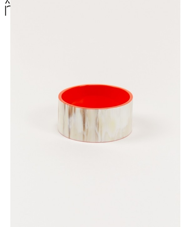 "Bandeau"" wide bracelet in blond horn and orange lacquer"""
