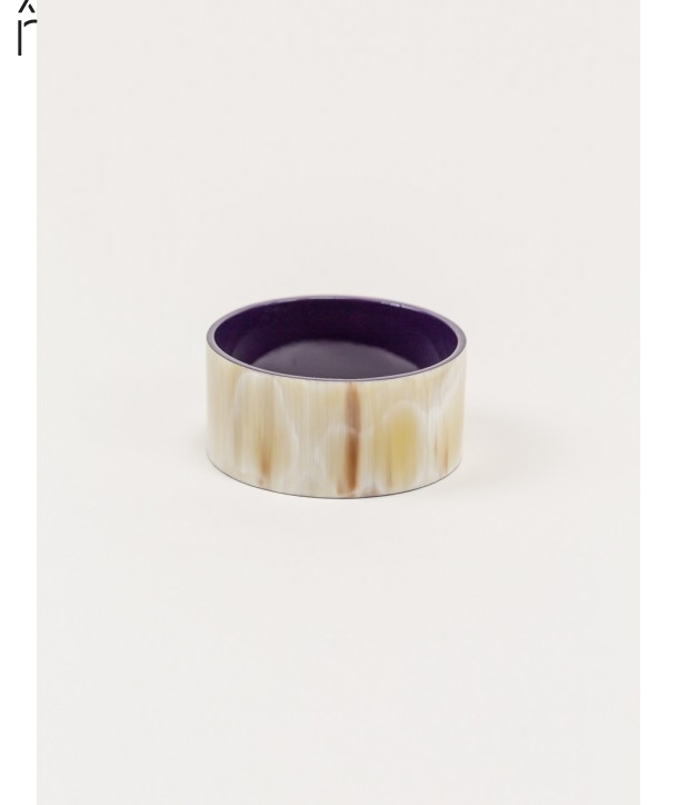"Bandeau"" wide bracelet in blond horn and purple lacquer"""