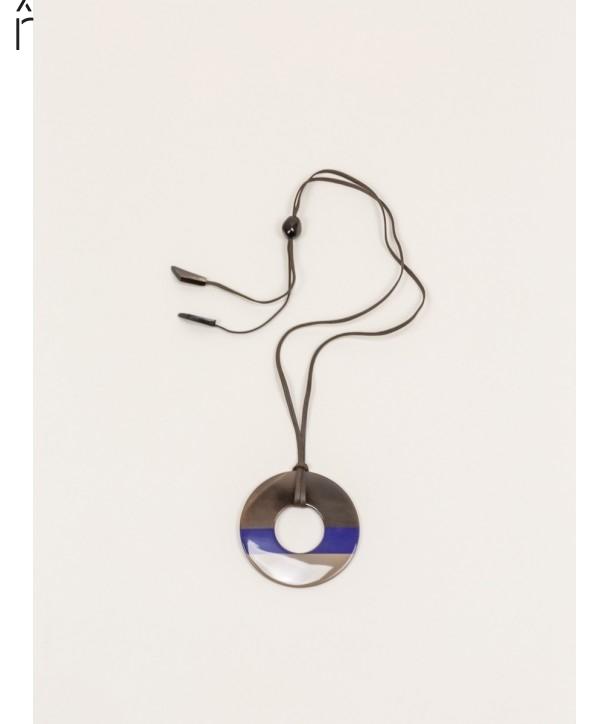 Pendentif anneau sabot de buffle et laque couleur indigo cafe crème