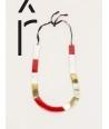 Collier plaques corne blonde africaine, laque rouge et laiton