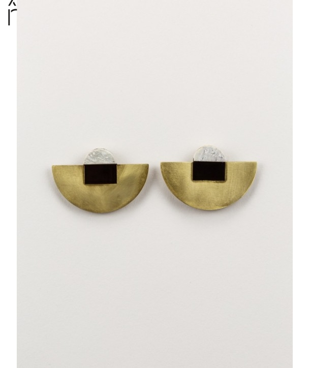 Stone & Brass Crescent earrings