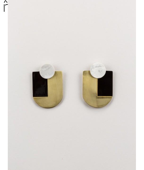 Stone & brass Ecu earrings