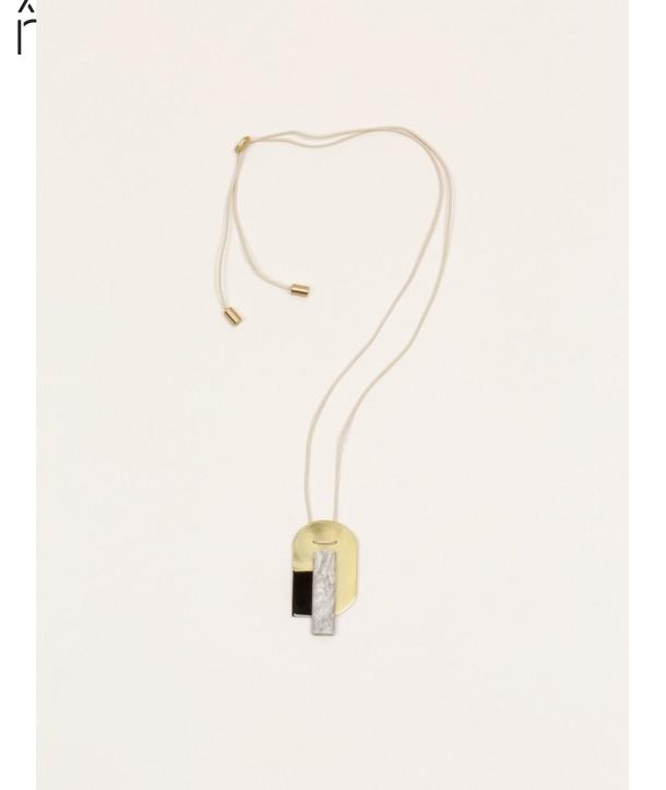 Stone & brass Air pendant