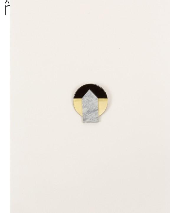 Stone & brass Sceau brooch