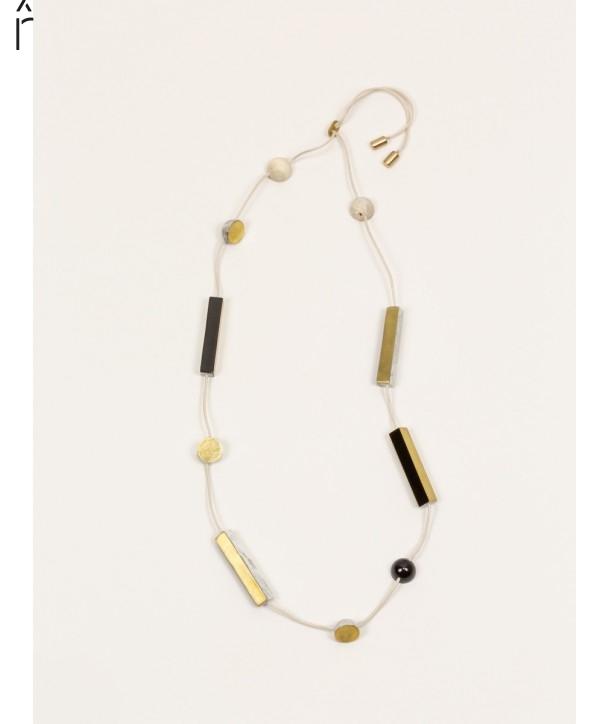 Long stone & brass necklace