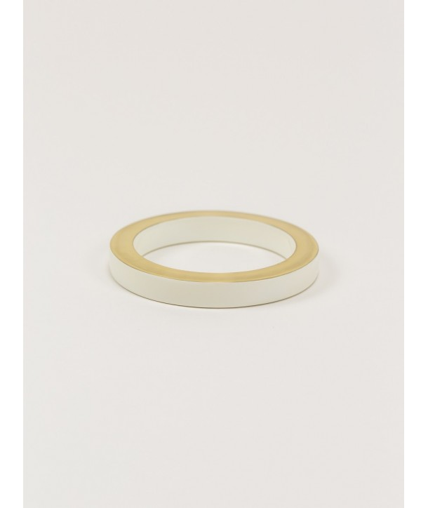 Brass and ivory lacquered wood bracelet in Size S