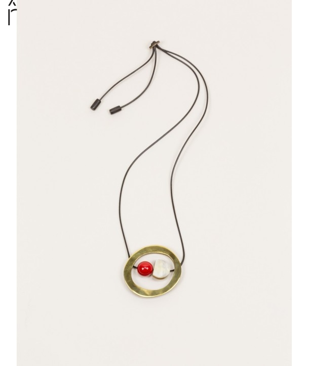 Abacus pendant in horn, brass and red lacquer