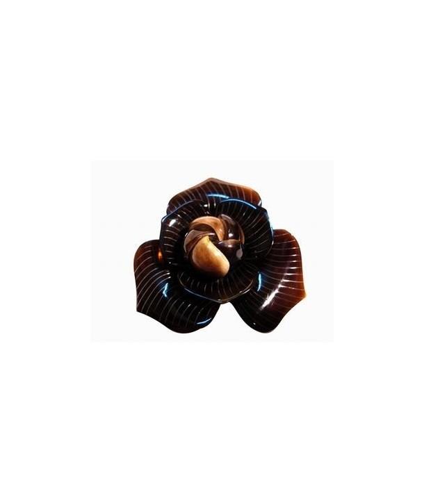 Little flower scrunchie in plain black horn