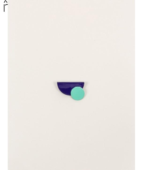 """Broche """"Satellite"""" en corne blonde avec laque menthe et violet"""