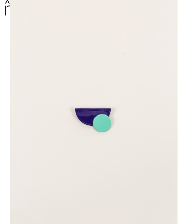 "Satellite"" mint green and purple lacquered brooch in blond horn"""