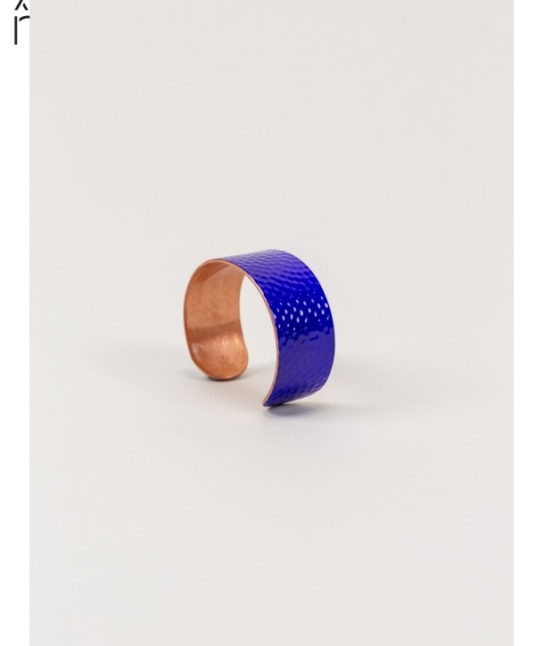 Hammered copper cuff bracelet with blue lacquer