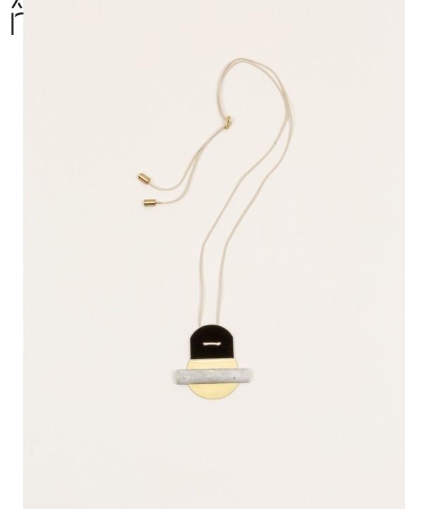 Stone & brass Horizon pendant