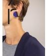 Boucles d'oreilles disque laqué bicolore bleu indigo et café crème