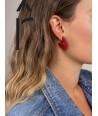 Boucles d'oreilles anneau plat ouvert laqué bicolore orange et gris-bleu