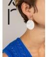 Boucles d'oreilles disque plein bord droit en corne blonde