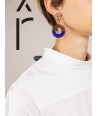 Wide indigo blue and cream coffee lacquered rings earrings