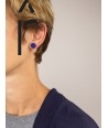 Indigo blue and cream coffee lacquered pastille earrings